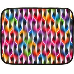 Rainbow Psychedelic Waves  Fleece Blanket (Mini)