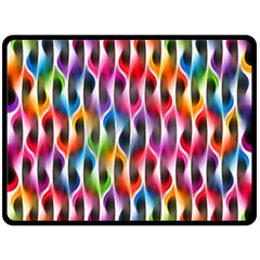 Rainbow Psychedelic Waves  Fleece Blanket (Large)