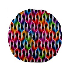 Rainbow Psychedelic Waves  Standard 15  Premium Flano Round Cushions
