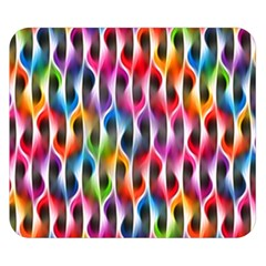 Rainbow Psychedelic Waves  Double Sided Flano Blanket (Small)