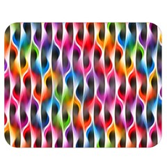 Rainbow Psychedelic Waves  Double Sided Flano Blanket (Medium)