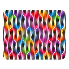 Rainbow Psychedelic Waves  Double Sided Flano Blanket (Large)