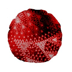 Red Fractal Lace Standard 15  Premium Flano Round Cushions