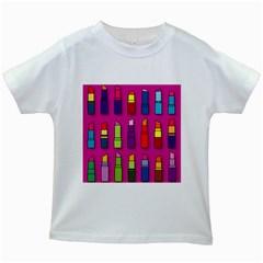 Lipsticks Pattern Kids White T-Shirts