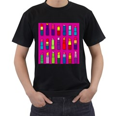 Lipsticks Pattern Men s T Shirt (black) (two Sided)