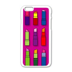 Lipsticks Pattern Apple Iphone 6 White Enamel Case