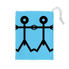 Love Men Icon Drawstring Pouches (Large)