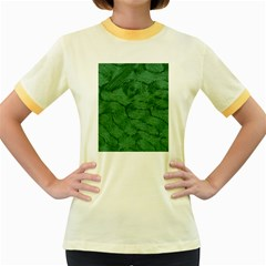 Woven Skin Green Women s Fitted Ringer T-Shirts