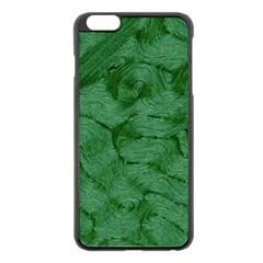 Woven Skin Green Apple iPhone 6 Plus Black Enamel Case