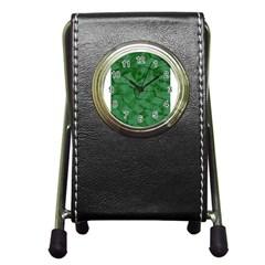 Woven Skin Green Pen Holder Desk Clocks