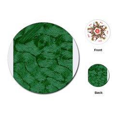 Woven Skin Green Playing Cards (Round)