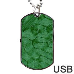 Woven Skin Green Dog Tag USB Flash (One Side)
