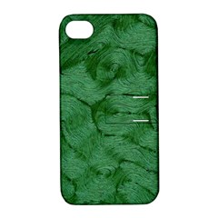 Woven Skin Green Apple Iphone 4/4s Hardshell Case With Stand