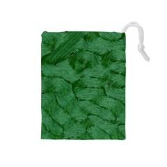 Woven Skin Green Drawstring Pouches (Medium)