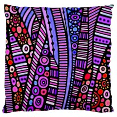 Stained glass tribal pattern Large Flano Cushion Cases (One Side)