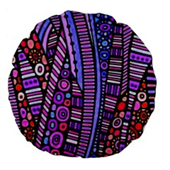 Stained glass tribal pattern Large 18  Premium Flano Round Cushions