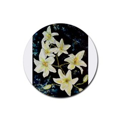 Bright Lilies Rubber Round Coaster (4 Pack)
