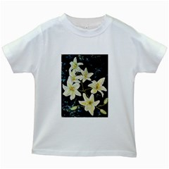 Bright Lilies Kids White T-Shirts