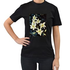 Bright Lilies Women s T-Shirt (Black) (Two Sided)