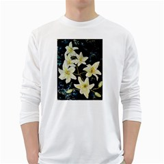 Bright Lilies White Long Sleeve T-Shirts