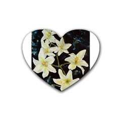 Bright Lilies Rubber Coaster (heart)