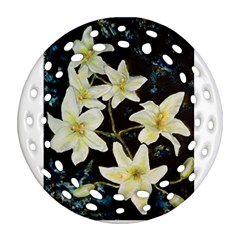 Bright Lilies Ornament (round Filigree)