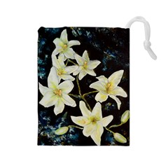 Bright Lilies Drawstring Pouches (large)
