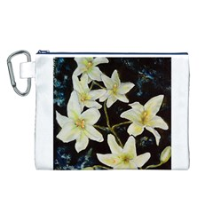 Bright Lilies Canvas Cosmetic Bag (L)