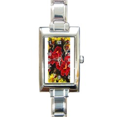 Red Orchids Rectangle Italian Charm Watches