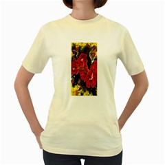 REd Orchids Women s Yellow T-Shirt