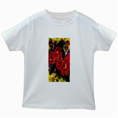 REd Orchids Kids White T-Shirts