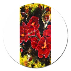 Red Orchids Magnet 5  (round)