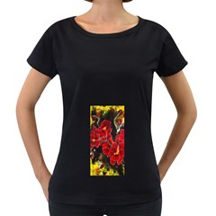 Red Orchids Women s Loose Fit T Shirt (black)