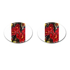 Red Orchids Cufflinks (oval)