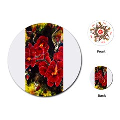 REd Orchids Playing Cards (Round)