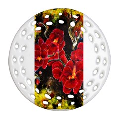 REd Orchids Round Filigree Ornament (2Side)