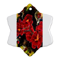 Red Orchids Snowflake Ornament (2 Side)