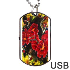 Red Orchids Dog Tag Usb Flash (one Side)