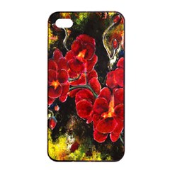 Red Orchids Apple Iphone 4/4s Seamless Case (black)