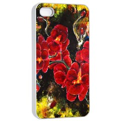 REd Orchids Apple iPhone 4/4s Seamless Case (White)
