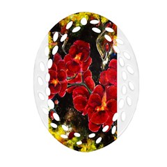 REd Orchids Ornament (Oval Filigree)