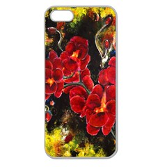 Red Orchids Apple Seamless Iphone 5 Case (clear)
