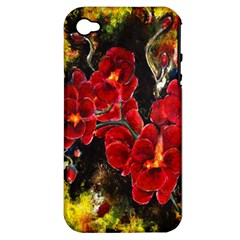 Red Orchids Apple Iphone 4/4s Hardshell Case (pc+silicone)