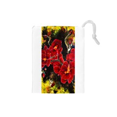 Red Orchids Drawstring Pouches (small)