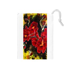 Red Orchids Drawstring Pouches (medium)