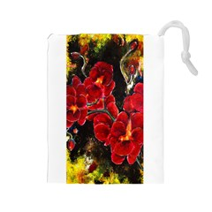 REd Orchids Drawstring Pouches (Large)