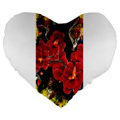 REd Orchids Large 19  Premium Flano Heart Shape Cushions