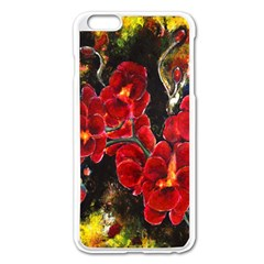 REd Orchids Apple iPhone 6 Plus Enamel White Case