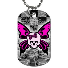 Skull Butterfly Dog Tag (two Sides)