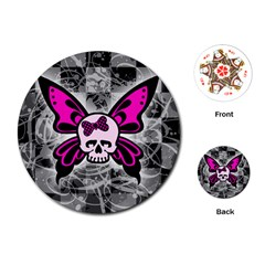Skull Butterfly Playing Cards (Round)